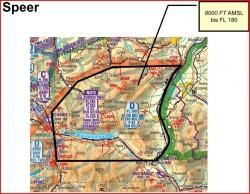 PC-21 Trainingsluftraum Speer; Die Karte zeigt die Ausdehnung des gewünschten Luftraumes (schwarze Linie).